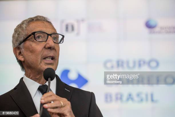 Billionaire Abilio Diniz speaks during the initial public offering of Atacadao SA the Brazilian unit of French retailerCarrefour SA at Brasil Bolsa...