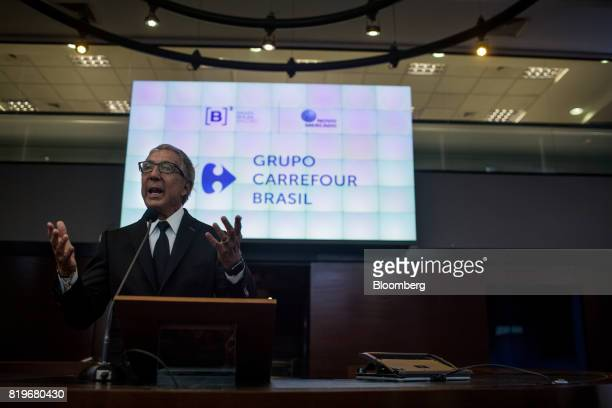 Billionaire Abilio Diniz speaks during the initial public offering of Atacadao SA the Brazilian unit of French retailer Carrefour SA at Brasil Bolsa...