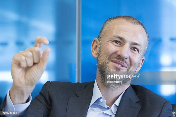Billionaire Andrey Melnichenko owner of EuroChem Group AG gestures during a meeting in London UK on Monday Aug 15 2016 EuroChem Group AGs new mines...