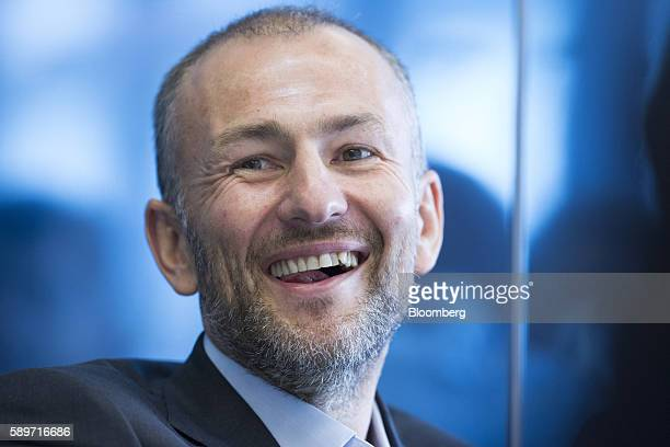 Billionaire Andrey Melnichenko owner of EuroChem Group AG reacts during a meeting in London UK on Monday Aug 15 2016 EuroChem Group AGs new mines in...