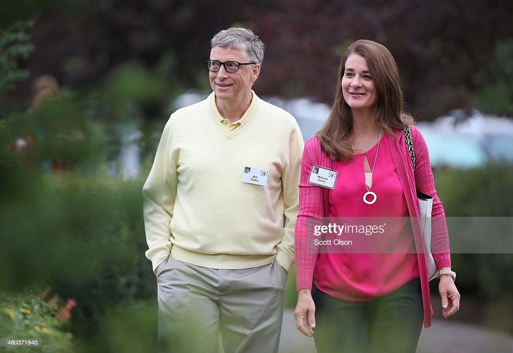 Billionaire Bill Gates chairman and founder of Microsoft Corp and his wife Melinda attend the Allen Company Sun Valley Conference on July 11 2015 in...