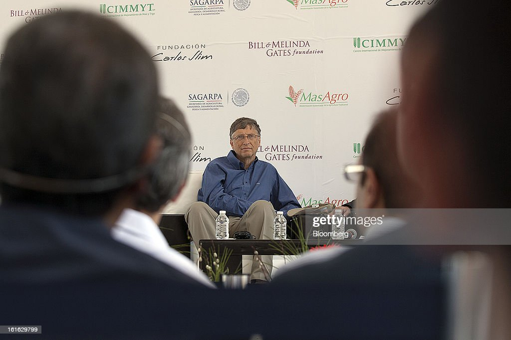 Billionaire Bill Gates listens during a news conference with Carlos Slim, unseen, to announce donations to Mexico's International Maize and Wheat Improvement Center, known by its Spanish initials as CIMMYT, in Texcoco, Mexico, on Wednesday, Feb. 13, 2013. The group, which performs research for agricultural productivity, opens its research facility this week. Photographer: Susana Gonzalez/Bloomberg via Getty Images