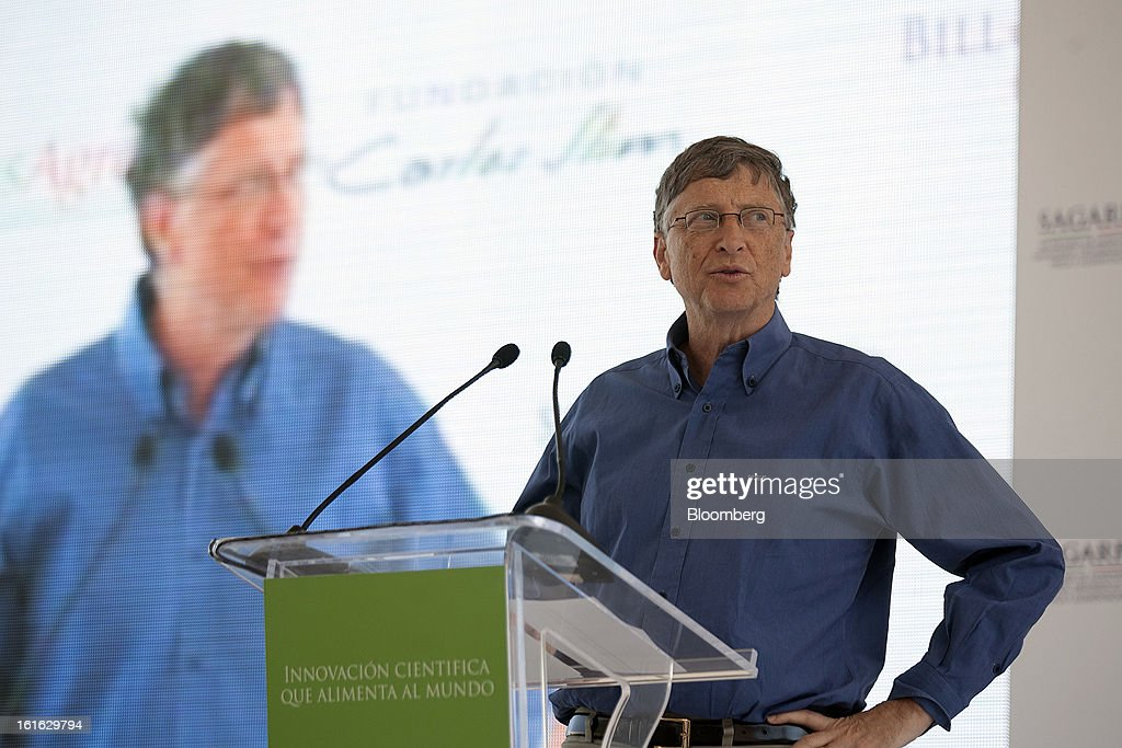 Billionaire Bill Gates speaks during a news conference with Carlos Slim, unseen, to announce donations to Mexico's International Maize and Wheat Improvement Center, known by its Spanish initials as CIMMYT, in Texcoco, Mexico, on Wednesday, Feb. 13, 2013. The group, which performs research for agricultural productivity, opens its research facility this week. Photographer: Susana Gonzalez/Bloomberg via Getty Images