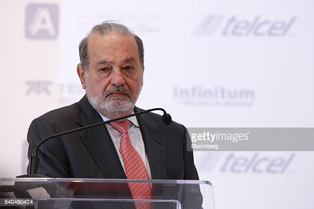 Billionaire Carlos Slim chairman emeritus of America Movil SAB and Telefonos de Mexico SAB listens during a presentation of the new learning platform...