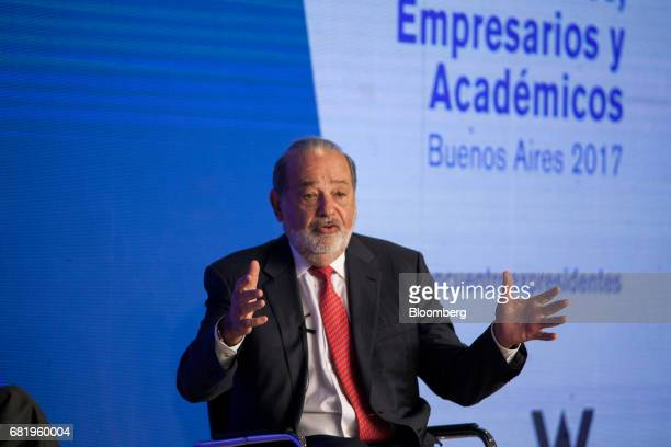 Billionaire Carlos Slim chairman emeritus of America Movil SAB and Telefonos de Mexico SAB speaks during the Montevideo Circle Foundation Summit in...
