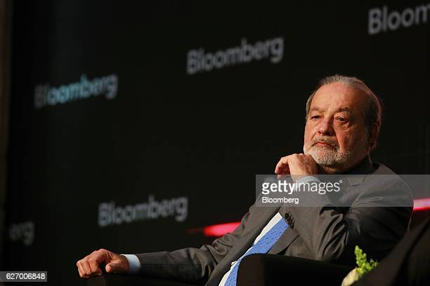 Billionaire Carlos Slim chairman emeritus of America Movil SAB listens during the Bloomberg Mexico Year Ahead 2017 Summit in Mexico City Mexico on...