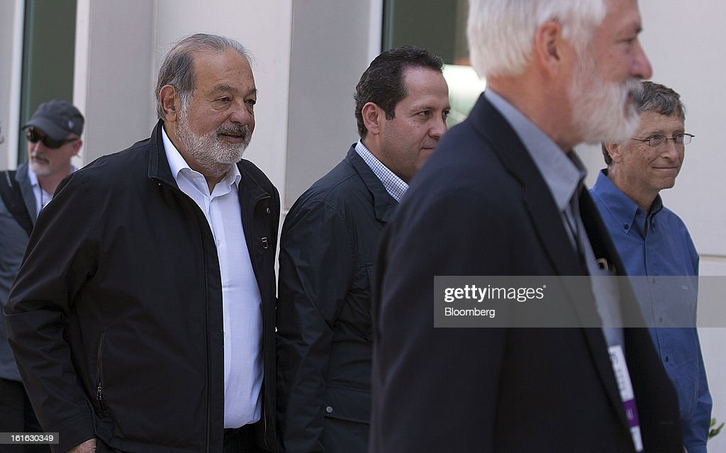 Billionaire <a gi-track='captionPersonalityLinkClicked' href=/galleries/search?phrase=Carlos+Slim&family=editorial&specificpeople=584959 ng-click='$event.stopPropagation()'>Carlos Slim</a>, from left, Eruviel Avila Villegas, governor of state of Mexico, Thomas Lumpkin, director of the International Maize and Wheat Improvement Center, known by its Spanish initials as CIMMYT, and billionaire <a gi-track='captionPersonalityLinkClicked' href=/galleries/search?phrase=Bill+Gates&family=editorial&specificpeople=202049 ng-click='$event.stopPropagation()'>Bill Gates</a>, walk to a ribbon-cutting ceremony at the CIMMYT in Texcoco, Mexico, on Wednesday, Feb. 13, 2013. CIMMYT, which performs research for agricultural productivity, opens its research facility this week. Photographer: Susana Gonzalez/Bloomberg via Getty Images