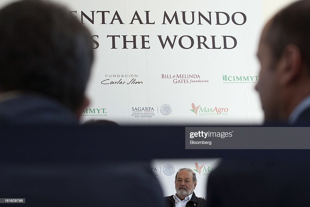 Billionaire Carlos Slim listens during a news conference with Bill Gates, unseen, to announce donations to Mexico's International Maize and Wheat Improvement Center, known by its Spanish initials as CIMMYT, in Texcoco, Mexico, on Wednesday, Feb. 13, 2013. The group, which performs research for agricultural productivity, opens its research facility this week. Photographer: Susana Gonzalez/Bloomberg via Getty Images