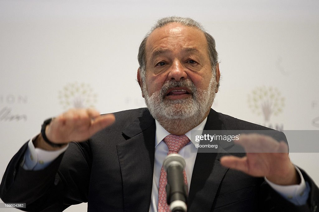 Billionaire Carlos Slim speaks at a news conference with Salman Khan, founder of Khan Academy, unseen, in Mexico City, Mexico, on Monday, Jan. 14, 2013. Slim announced his support for Khan's not-for-profit website that offers free educational videos and teaching tools. Photographer: Susana Gonzalez/Bloomberg via Getty Images