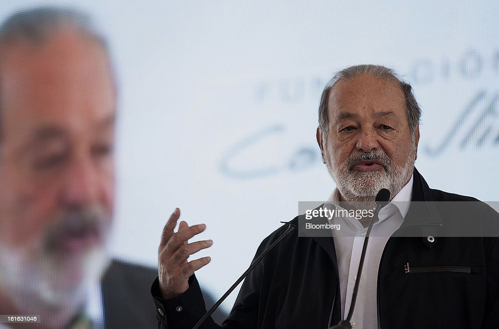 Billionaire Carlos Slim speaks during a news conference with Bill Gates, unseen, to announce donations to Mexico's International Maize and Wheat Improvement Center, known by its Spanish initials as CIMMYT, in Texcoco, Mexico, on Wednesday, Feb. 13, 2013. The group, which performs research for agricultural productivity, will open its research facility this week. Photographer: Susana Gonzalez/Bloomberg via Getty Images