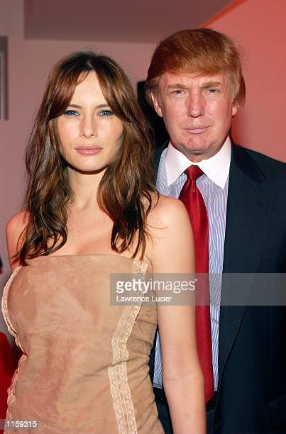 Billionaire Donald Trump and mode Melania Knauss celebrate the launch of Virgin Mobile USA at the Whitespace Studio on July 24 in New York City...