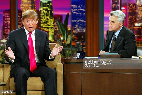 Billionaire Donald Trump appears on 'The Tonight Show with Jay Leno' at the NBC Studios on April 7 2004 in Burbank California