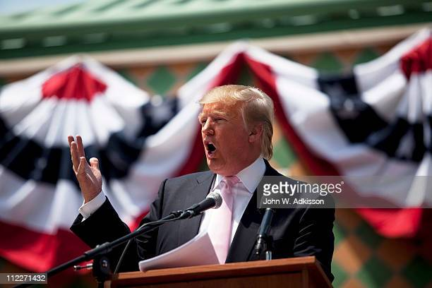 Billionaire Donald Trump speaks to a crowd at the 2011 Palm Beach County Tax Day Tea Party on April 16 2011 at Sanborn Square in Boca Raton Florida...