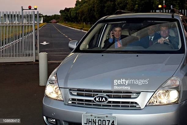 Billionaire Eike Batista chairman and chief executive officer of MMX Mineracao e Metalicos SA left leaves the Alvorada Palace in a Kia Motors vehicle...