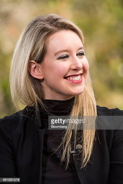Billionaire Elizabeth Holmes founder and chief executive officer of Theranos Inc reacts during a Bloomberg Television interview at the Vanity Fair...