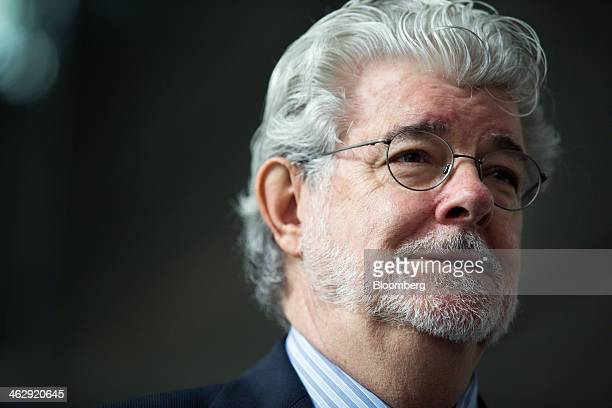 Billionaire George Lucas filmmaker and founder of Lucasfilm Ltd speaks during the opening ceremony of the company's Sandcrawler building home to...