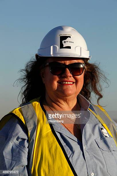 Billionaire Gina Rinehart chairman of Hancock Prospecting Ltd stands for a photograph during a tour of the company's Roy Hill Mine operations under...