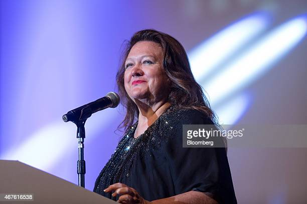 Billionaire Gina Rinehart chairman of Hancock Prospecting Pty reacts whilst speaking during the Mines and Money conference in Hong Kong China on...