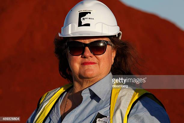 Billionaire Gina Rinehart chairman of Hancock Prospecting Pty stands for a photograph during a tour of the company's Roy Hill Mine operations under...