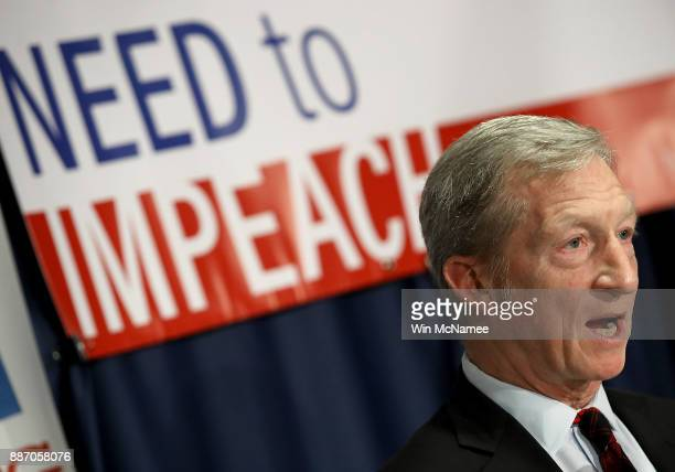 Billionaire hedge fund manager and philanthropist Tom Steyer speaks during a press conference at the National Press Club December 6 2017 in...