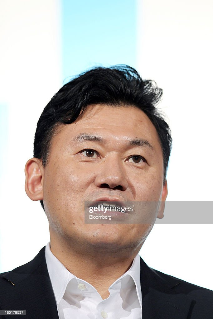 Billionaire Hiroshi Mikitani, chairman and chief executive officer of Rakuten Inc., speaks during a news conference in Tokyo, Japan, on Friday, Oct. 18, 2013. Rakuten last month agreed to buy streaming video service provider Viki Inc. as the Japanese Internet retailer seeks to expand into new digital offerings. Photographer: Junko Kimura/Bloomberg via Getty Images
