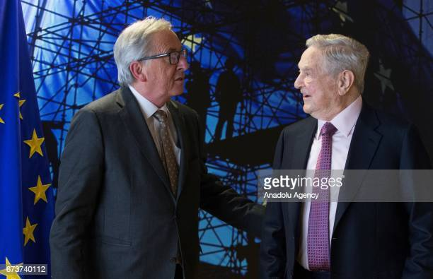 A billionaire investor George Soros meets with European Union Commission President Jean Claude Juncker in Brussels Belgium on April 27 2017