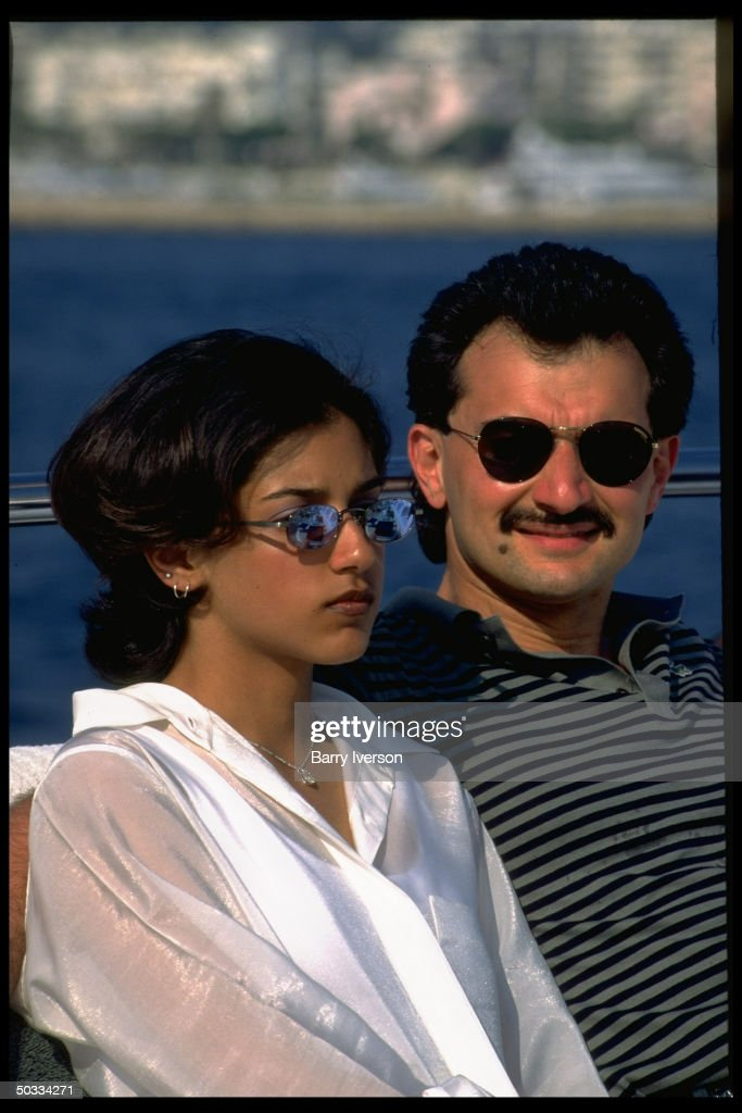 Billionaire investor Saudi Prince Alwaleed (Kingdom Holding Co.) & daughter Reem on his yacht, Kingdom 5-KR, formerly owned by US real estate mogul Donald Trump.