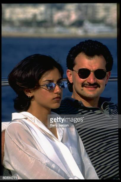 Billionaire investor Saudi Prince Alwaleed daughter Reem on his yacht Kingdom 5KR formerly owned by US real estate mogul Donald Trump