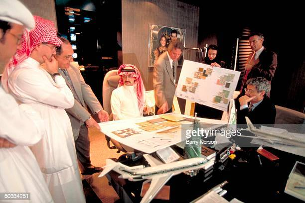 Billionaire investor Saudi Prince Alwaleed in late night mtg at his palace w potential contractors for his Kingdom Holding Co academy