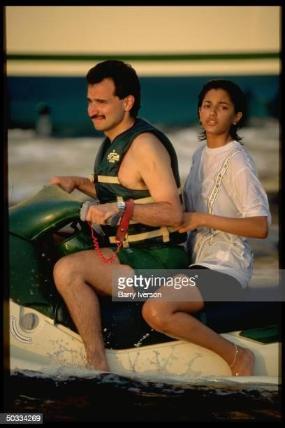 Billionaire investor Saudi Prince Alwaleed jet skiing w daughter Reem
