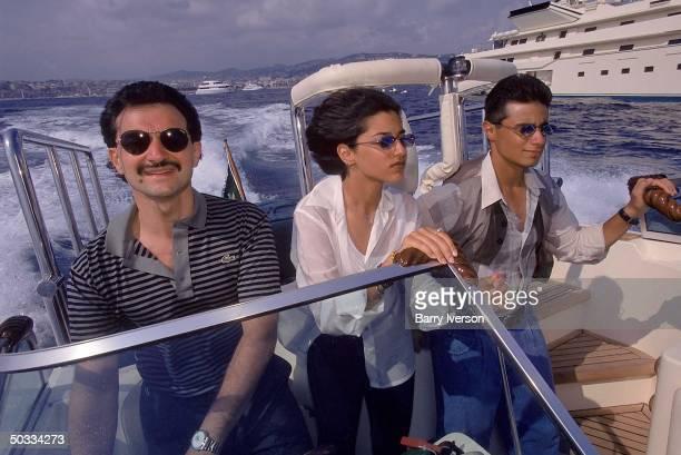 Billionaire investor Saudi Prince Alwaleed taking daughter Reem son Khalid on speedboat ride