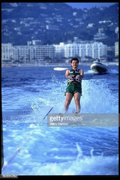 Billionaire investor Saudi Prince Alwaleed water skiing
