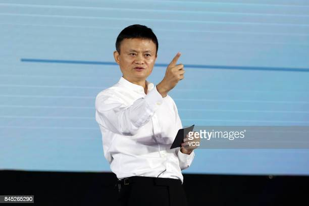 Billionaire Jack Ma chairman of Alibaba Group Holding Ltd delivers a speech on 'how the internet of things might impact the future' during the World...