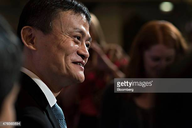 Billionaire Jack Ma chairman of Alibaba Group Holding Ltd greets attendees prior to an event in Chicago Illinois US on Wednesday June 10 2015 Alibaba...