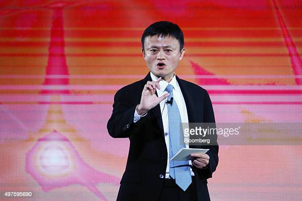 Billionaire Jack Ma chairman of Alibaba Group Holding Ltd speaks at the AsiaPacific Economic Cooperation CEO Summit in Manila the Philippines on...