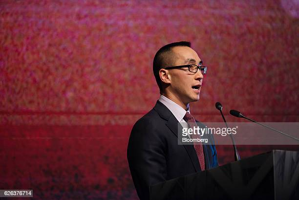 Billionaire Lawrence Ho chairman and chief executive officer of Melco Crown Entertainment Ltd speaks during a news conference ahead of unveiling the...