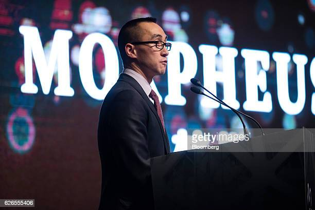 Billionaire Lawrence Ho chairman and chief executive officer of Melco Crown Entertainment Ltd speaks during a news conference unveiling the name of...