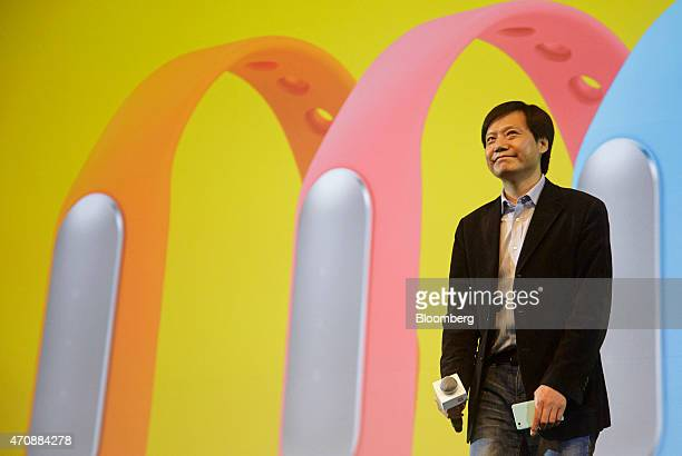 Billionaire Lei Jun chairman and chief executive officer of Xiaomi Corp attends a news conference in New Delhi India on Thursday April 23 2015 Xiaomi...