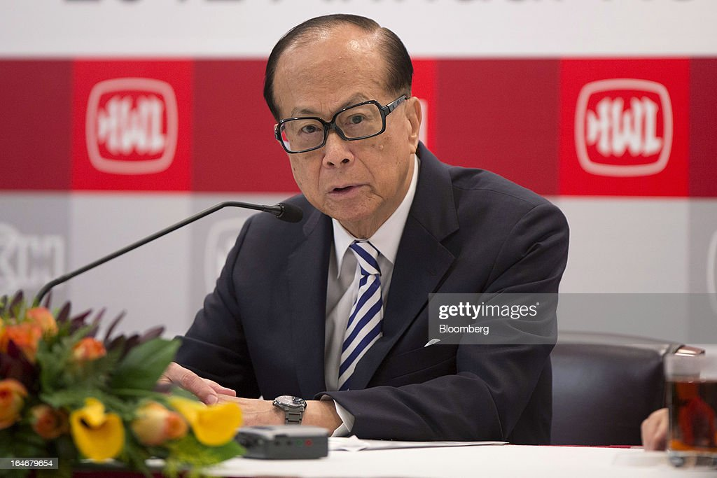 Billionaire <a gi-track='captionPersonalityLinkClicked' href=/galleries/search?phrase=Li+Ka-shing&family=editorial&specificpeople=618931 ng-click='$event.stopPropagation()'>Li Ka-shing</a>, chairman of Cheung Kong (Holdings) Ltd. and Hutchison Whampoa Ltd., speaks during a news conference in Hong Kong, China, on Tuesday, March 26, 2013. Cheung Kong Holdings, the builder controlled by Asia's richest man, said 2012 profit excluding contributions from unit Hutchison Whampoa Ltd. rose 6 percent as rental income growth offset a decline in home sales. Photographer: Jerome Favre/Bloomberg via Getty Images