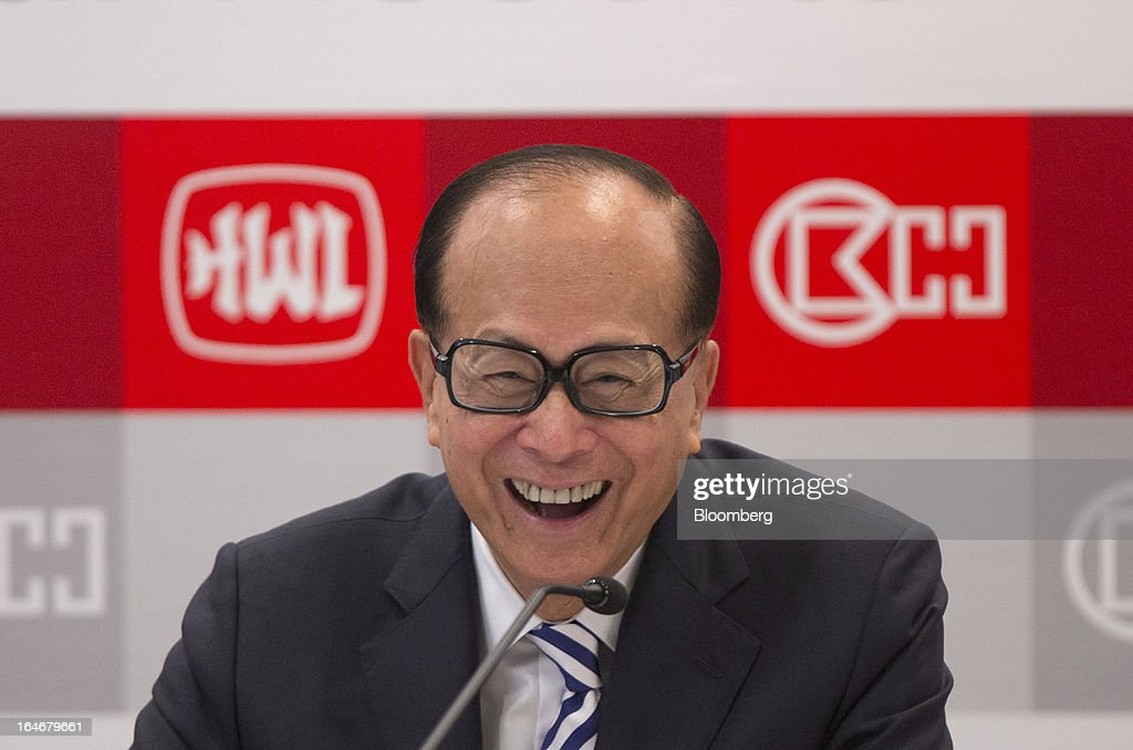 Billionaire Li Ka-shing, chairman of Cheung Kong (Holdings) Ltd. and Hutchison Whampoa Ltd., reacts during a news conference in Hong Kong, China, on Tuesday, March 26, 2013. Cheung Kong Holdings, the builder controlled by Asia's richest man, said 2012 profit excluding contributions from unit Hutchison Whampoa Ltd. rose 6 percent as rental income growth offset a decline in home sales. Photographer: Jerome Favre/Bloomberg via Getty Images