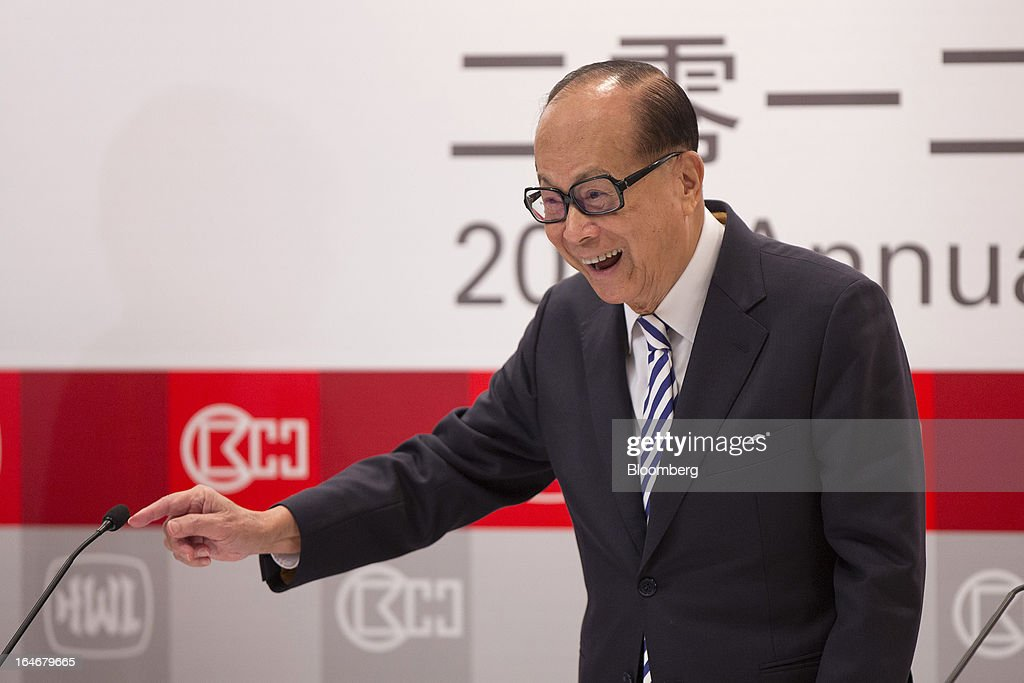 Billionaire Li Ka-shing, chairman of Cheung Kong (Holdings) Ltd. and Hutchison Whampoa Ltd., gestures as he speaks during a news conference in Hong Kong, China, on Tuesday, March 26, 2013. Cheung Kong Holdings, the builder controlled by Asia's richest man, said 2012 profit excluding contributions from unit Hutchison Whampoa Ltd. rose 6 percent as rental income growth offset a decline in home sales. Photographer: Jerome Favre/Bloomberg via Getty Images