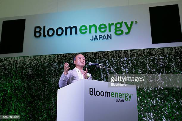Billionaire Masayoshi Son chairman and chief executive officer of SoftBank Corp speaks during the launch of the Bloom Energy Server a solid oxide...