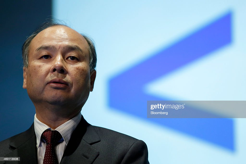 Billionaire <a gi-track='captionPersonalityLinkClicked' href=/galleries/search?phrase=Masayoshi+Son&family=editorial&specificpeople=632759 ng-click='$event.stopPropagation()'>Masayoshi Son</a>, chairman and chief executive officer of SoftBank Corp., speaks during a news conference in Tokyo, Japan, on Tuesday, Feb. 10, 2015. SoftBank, the wireless carrier controlled by Son, posted plunging third-quarter profit as Japanese subscriber growth stalled and losses widened at Sprint Corp. in the U.S. Photographer: Kiyoshi Ota/Bloomberg via Getty Images