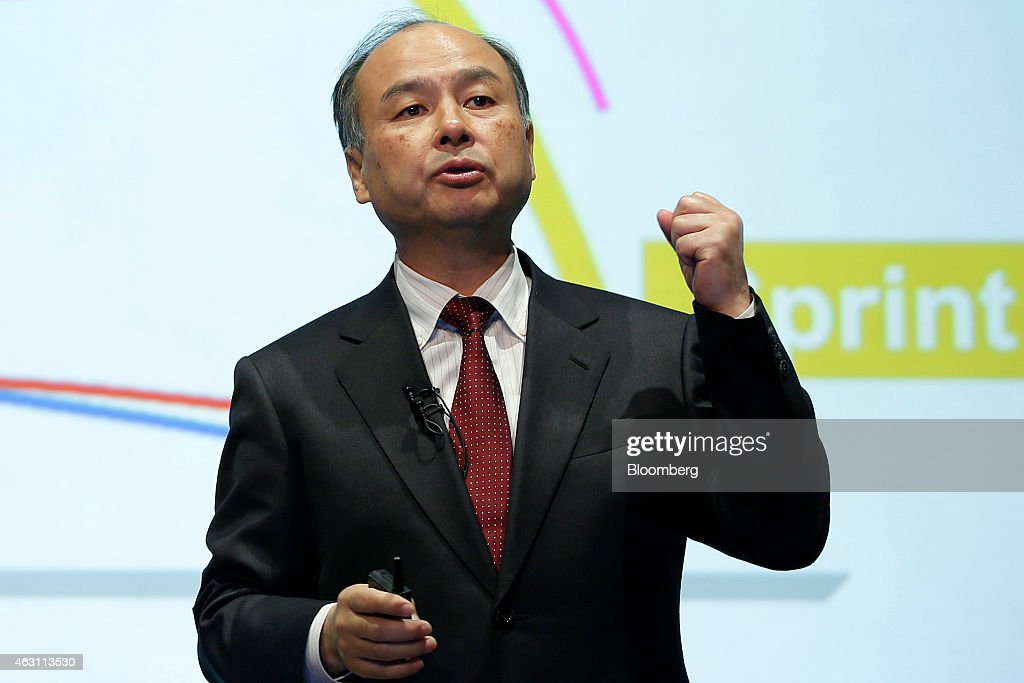 Billionaire Masayoshi Son, chairman and chief executive officer of SoftBank Corp., gestures as he speaks during a news conference in Tokyo, Japan, on Tuesday, Feb. 10, 2015. SoftBank, the wireless carrier controlled by Son, posted plunging third-quarter profit as Japanese subscriber growth stalled and losses widened at Sprint Corp. in the U.S. Photographer: Kiyoshi Ota/Bloomberg via Getty Images