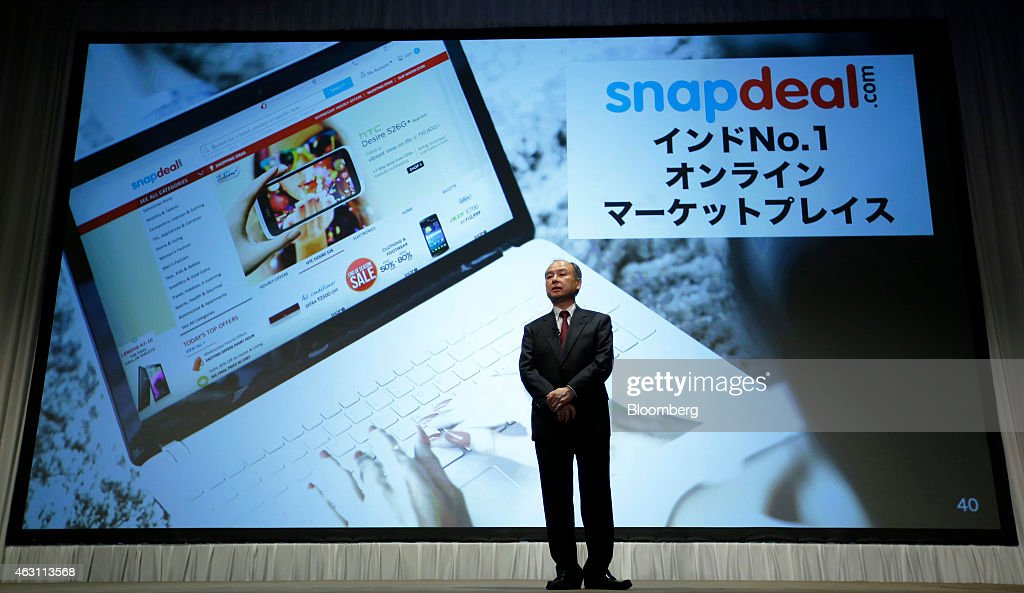 Billionaire Masayoshi Son, chairman and chief executive officer of SoftBank Corp., speaks during a news conference in Tokyo, Japan, on Tuesday, Feb. 10, 2015. SoftBank, the wireless carrier controlled by Son, posted plunging third-quarter profit as Japanese subscriber growth stalled and losses widened at Sprint Corp. in the U.S. Photographer: Kiyoshi Ota/Bloomberg via Getty Images