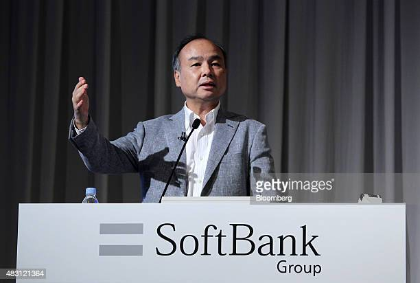 Billionaire Masayoshi Son chairman and chief executive officer of SoftBank Group Corp speaks during a news conference in Tokyo Japan on Thursday Aug...