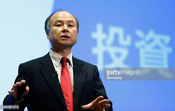 Billionaire Masayoshi Son chairman and chief executive officer of SoftBank Group Corp speaks during a news conference in Tokyo Japan on Wednesday Nov...