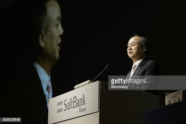 Billionaire Masayoshi Son chairman and chief executive officer of SoftBank Group Corp speaks during a news conference in Tokyo Japan on Wednesday Feb...