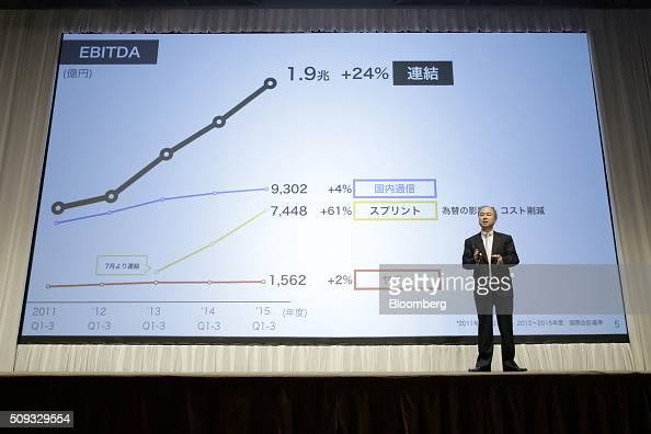 Billionaire Masayoshi Son chairman and chief executive officer of SoftBank Group Corp speaks about the company performance during a news conference...