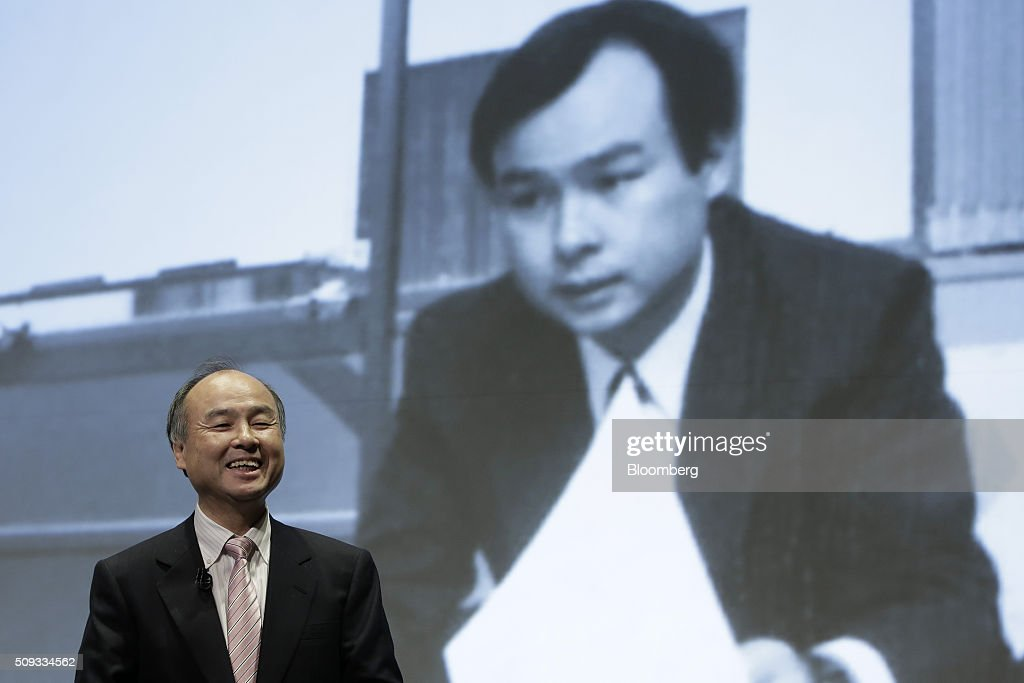 Billionaire <a gi-track='captionPersonalityLinkClicked' href=/galleries/search?phrase=Masayoshi+Son&family=editorial&specificpeople=632759 ng-click='$event.stopPropagation()'>Masayoshi Son</a>, chairman and chief executive officer of SoftBank Group Corp., smiles during a news conference in Tokyo, Japan, on Wednesday, Feb. 10, 2016. SoftBank increased third quarter operating income 7.3 percent on new Japanese wireless customers as Son sees signs of a turnaround at its beleaguered U.S. unit Sprint Corp. Photographer: Kiyoshi Ota/Bloomberg via Getty Images